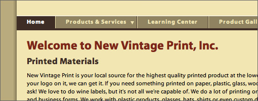 New Vintage Print Website Development - Small
